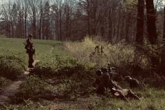 Granátníci ukrytí pod korunami stromů. Důvod byl zřejmě přelet obávaných JABOs. Gruppenführer Emmer vyhodnocuje situaci již jako bezpečnou a pobízí své muže k pokračování.